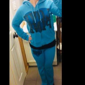 Blue Victoria's Secret Hooded Sweatsuit